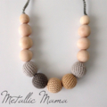 Metallic Mama crochet teething nursing necklace silver gold grey