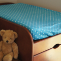 Aqua Blue w White Polka Dots Baby Change Table Cover, #Baby Shower Gift