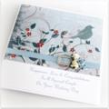 Wedding card boxed darling blue bird cream blue ivory paper roses bride groom