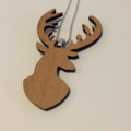 Wood deer head pendant with chain