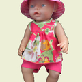 Pink top and shorts or pants - Baby Born or Cabbage Patch dolls
