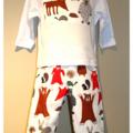 Size 1 - long pants trouses & long sleeve shirt top - boys woodland