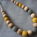 Organic Wood Bead Necklace / Yellow and Grey on Cream / Nursing & Breastfeeding