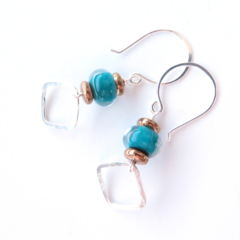 Claire Green, Gold and Sterling Silver dangle Earrings