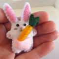 Rabbit with a carrot - miniature felt bunny with vegetable