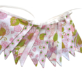 Vintage Bunting - Retro Pink Floral & Doily Lace Flags. Party Decor Wall hanging