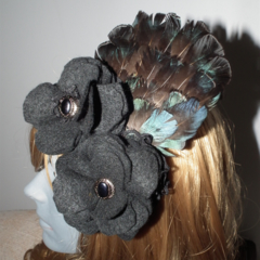 Winter Dew SALE black felt  flowers teal blue exotic feathers fascinator