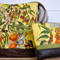 SOLD **Australian Native Tree Linen & Leather Large Bag**SOLD