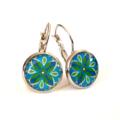 Earrings - Blue & green geo floral - Vintage patterns in resin