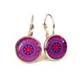 Earrings - Pink & purple retro floral - Vintage patterns in resin