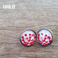 Bronze Plated Glass Cabochon Floral Earrings