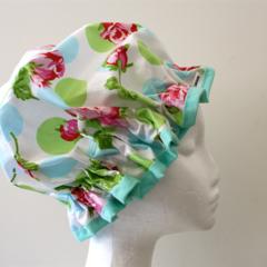 Handmade Laminated Designer Cotton Shower Cap - PVC FREE. Eco -Friendly