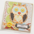 mother's day card owl card large yellow button