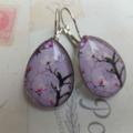 Lilac Cherry Blossom Teardrop Earrings