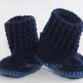 Crocheted Baby Snuggly Snuggs Booties. Navy or Green. Size 3-6 months