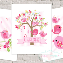 "Personalised SONG BIRD 8x10"" ART PRINTS - SET OF 3"