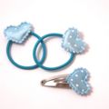 Blue hearts 3pk baby/ toddler pigtail hair set.