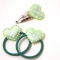 Pastel green hearts 3pk baby/ toddler pigtail hair set.