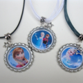 Inspired by Frozen Bottle Cap Necklace, your choice of Anna, Elsa or Olaf