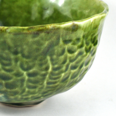 Ceramic Stoneware Bowl Rustic Green Unique Handmade Tableware