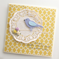 mother's day card glitter bird & paper doily