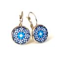 Earrings - Blue floral wheels - Vintage patterns in resin