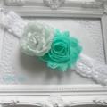 Teal green lace headband