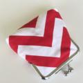 Retro Red & White Zig/Zag Chevron Coin Purse