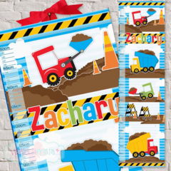 (Diggers and Dumptrucks) Personalised Fabric Height Chart 30x106cm