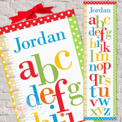 Alphabet Personalised Fabric Height Growth Chart 30x106cm