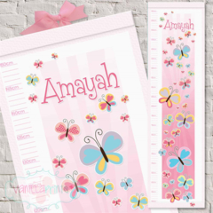 (Beautiful Butterflies) Personalised Fabric Height Chart 30x106cm