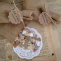 Burlap bags filled with vintage paper heart confetti, set of 10 with tags