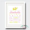 Elephant Birth Stat Nursery Print