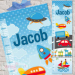 Fun Transport Fabric Height Chart Digitally printed on processed cloth 30x106cm