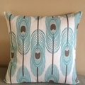 Feathers Blue & White Print Cushion Cover
