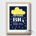Dream Big Little One Wall Art Print Baby Nursery Kid