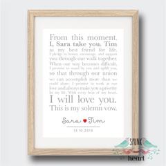 Wedding Anniversary Vows Wall Art Print