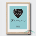 Wedding Anniversary Mr Mrs Date Wall Art Print
