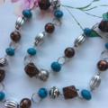 1 x black turquoise silver bead necklace view store for other necklaces