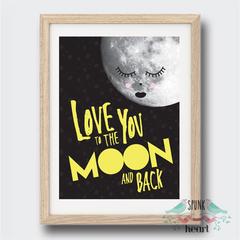 Love You To The Moon and Back Wall Art Print Decor Baby Nursery Kid