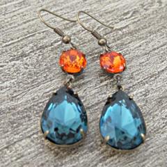 Kiahla Earrings Glam It Up Vintage Glass Jewels Bridal Blue Orange