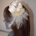 Champagne Romance... Beige Cream neutral Bridal wedding Headpiece Satin loops