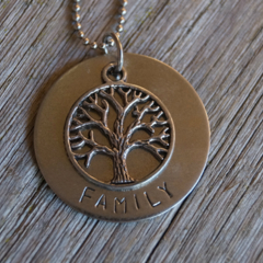 Stamped 'Family' Pendant with Tree of Life Charm