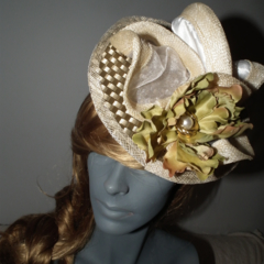 Futuristic Gold.SALE  Head Dress Head Piece Wedding Guest Races Neutral Sage