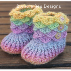 Crochet Crocodile Stitch Baby Booties size 6-12 months pink, purple, green