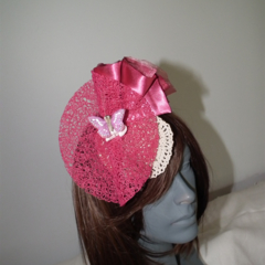 Pink Chic La La .SALE satin organza beige cream butterfly rose head piece