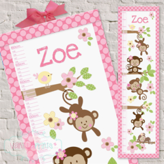 (Pretty Monkeys) Personalised Fabric Height Chart 30x106cm
