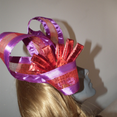 Space Continuum...SALE ON Race Day Fascinator Purple Metallic Red Roses