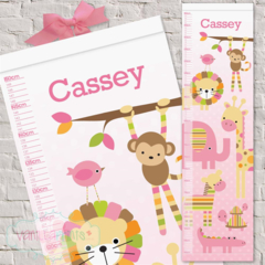 (Pink Zoo) Personalised Fabric Height Chart 30x106cm