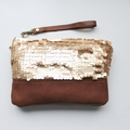 Sequin clutch, wristlet, zipper pouch, gold sequins and leather